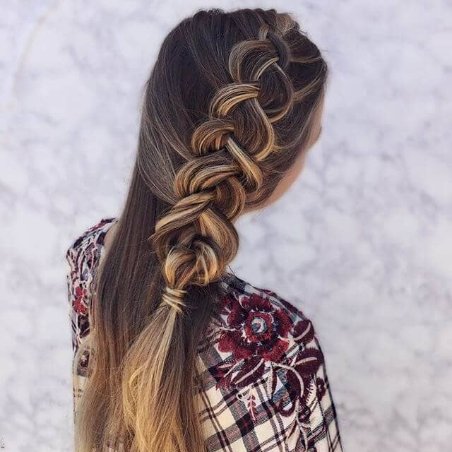 Braided-up Balayage for Brown Hair