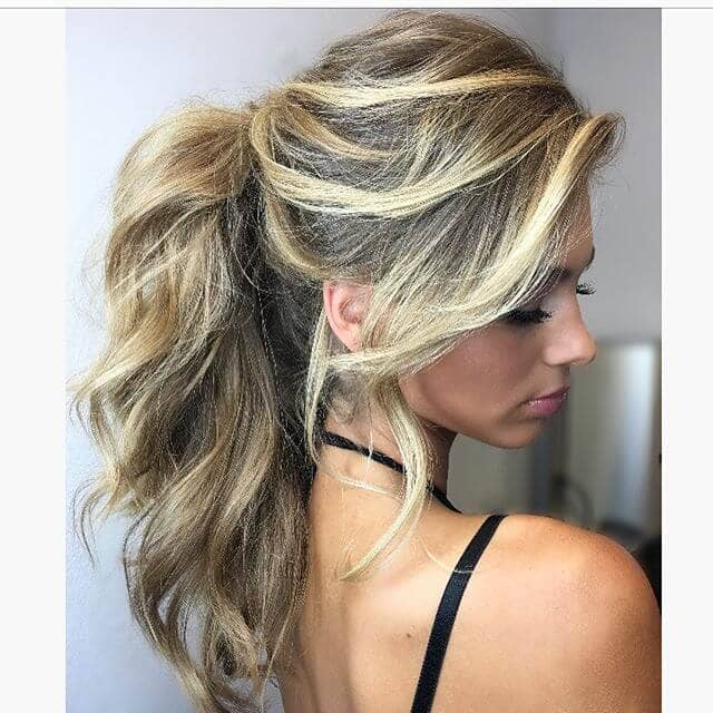 Color Contrast Tumbling Waves Ponytail Haircut