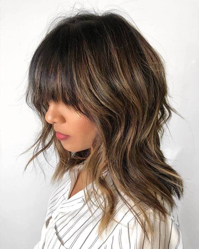 Blunt Bangs With Highlights And Long Layers