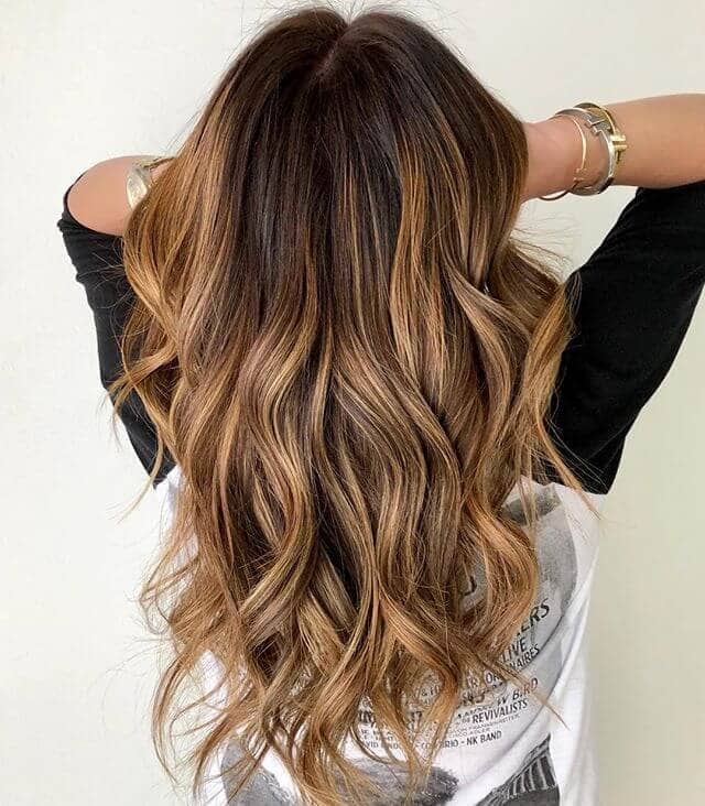 Brown Barrel Curls with Sun-kissed Tips
