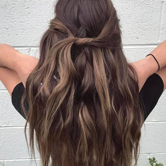 Dark Wavy Long Hair With Twist Detail