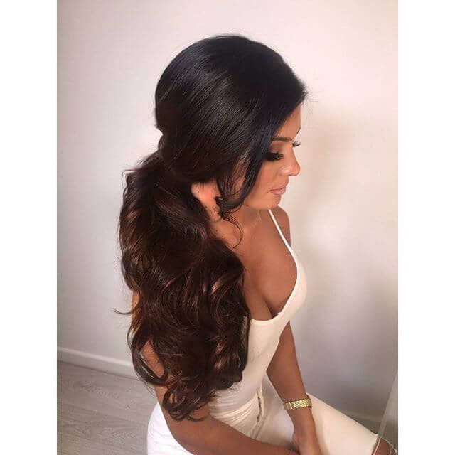 Curling Tumble in Low Side Pony Hairstyle