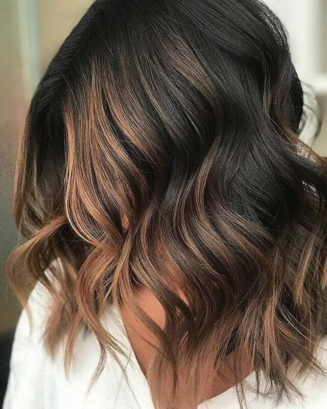 Shoulder Length Deep Brown With Caramel Highlights