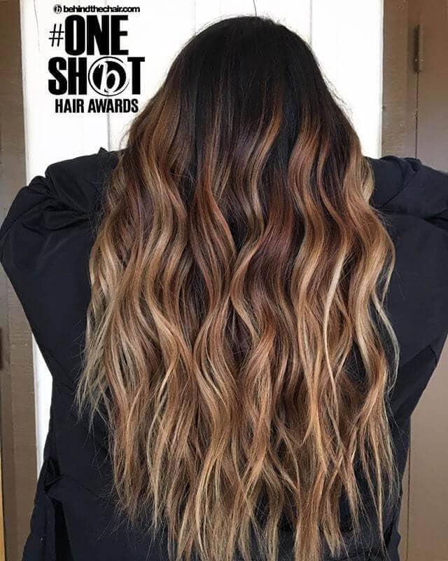 Caramel Blonde Hair with Dark Roots