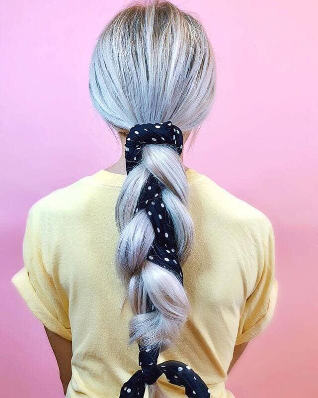Pretty Ribbon Bound Ponytail Plait