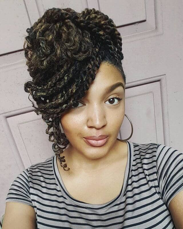Curly Twisted Updo with Side Swept Bang