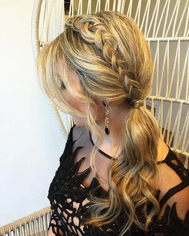Lace Braided Crown Ponytail Style