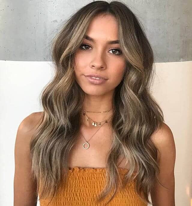 On-Point Ash Brown Hair with Cascading Waves
