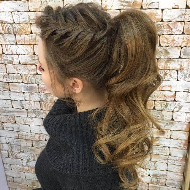 Loose Milkmaid Braid into High Arc Ponytail