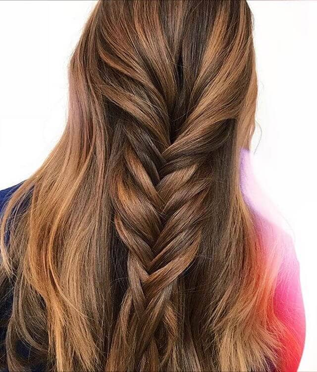 Long Brown Hair With A Fishtail Twist