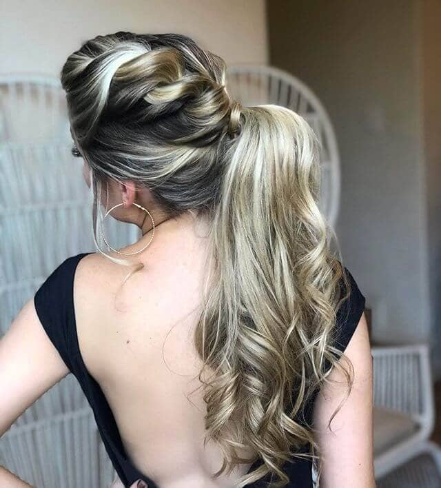 Asymmetrical Ponytail with Chunky Rope Braid Base