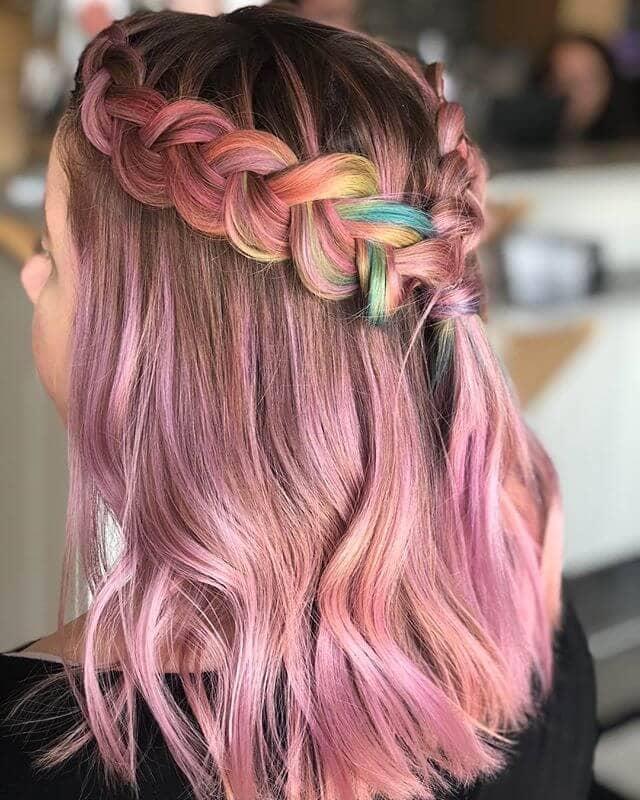 Rosy Waves with Rainbow Peek-a-Boo Braid