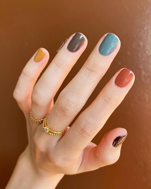 Subdued Rainbow Color Nail Design