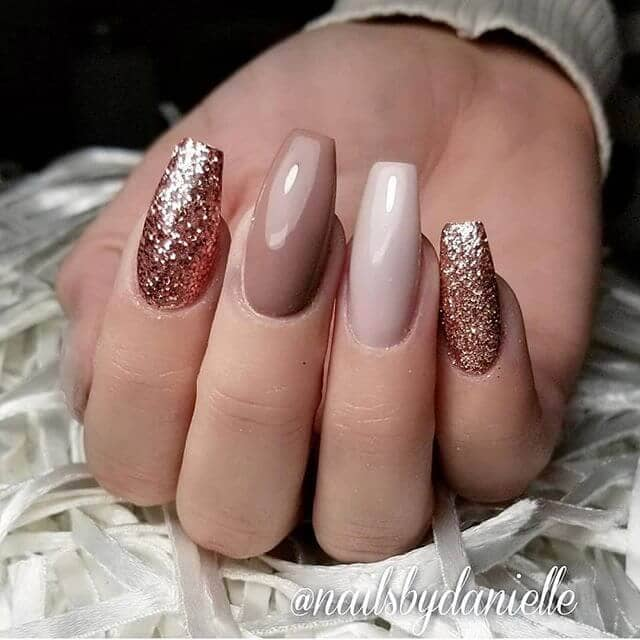 Glittery Nude Nails in Multiple Shades
