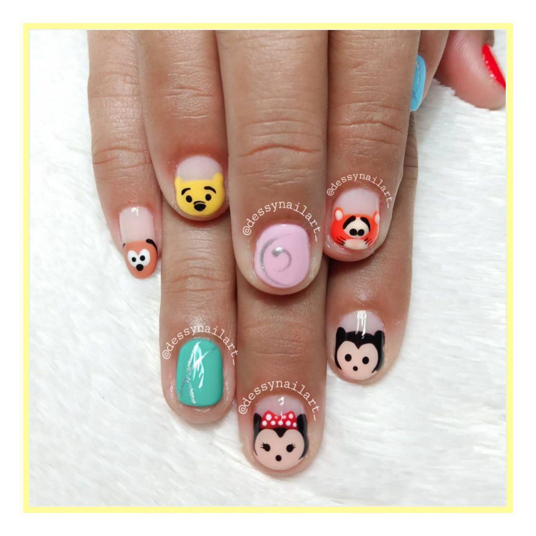 Cute Animated Nail Design Idea for Short Nails