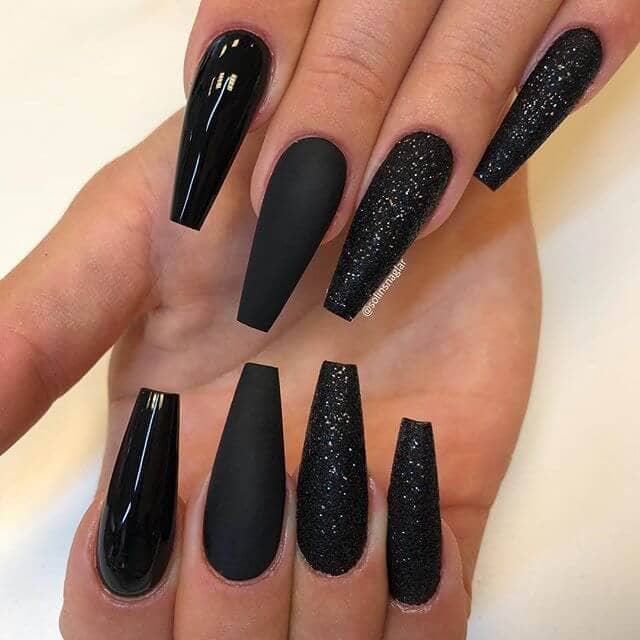 Multi-textured Black Nail Art