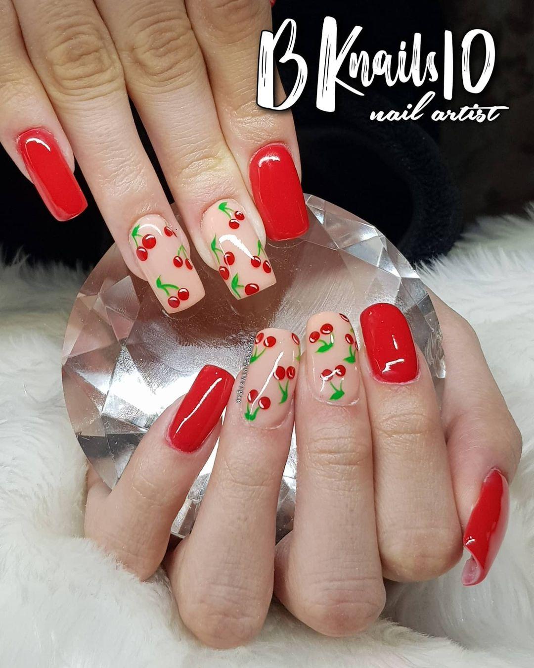 Cherry Blossom Cream and Cherry Red Nail Idea