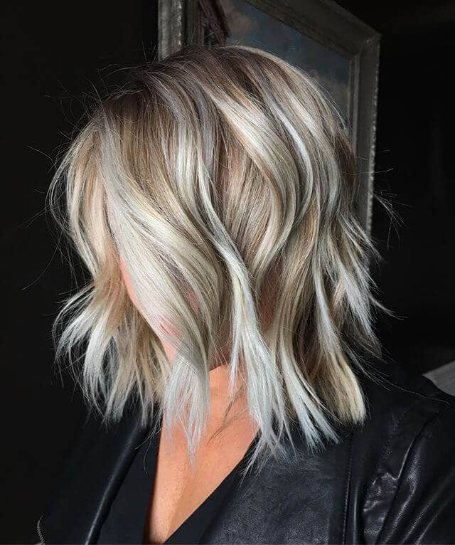 Champagne Blonde Long Layered Bob