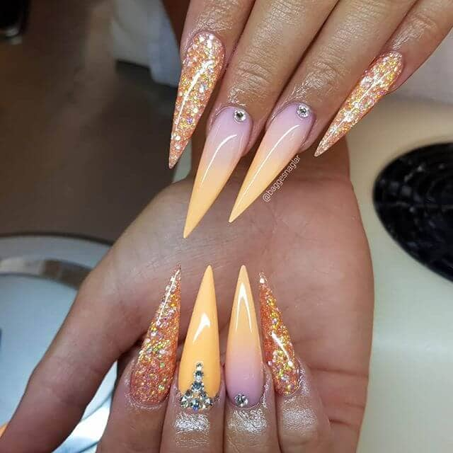 Pointed Cute Nail Ideas with Orange and Purple