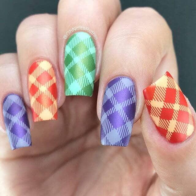 Multi-Colored Matte Argyle Nails
