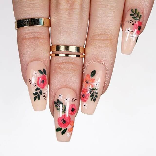 Lovely Flowers with Fancy Nude Nail Design