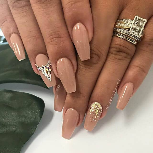 Gold and Mocha Nude Nail Art