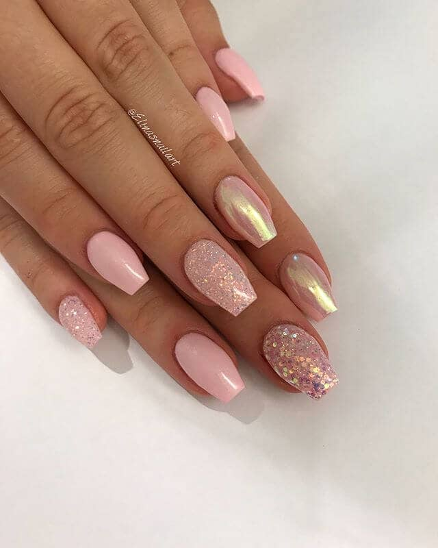 Lovely Light Pink with Sequins Pretty Nails
