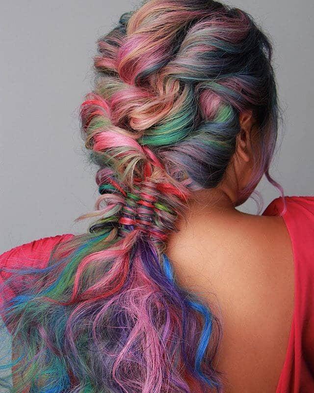 Messy-Chic Mermaid Braid in Soft Pastels