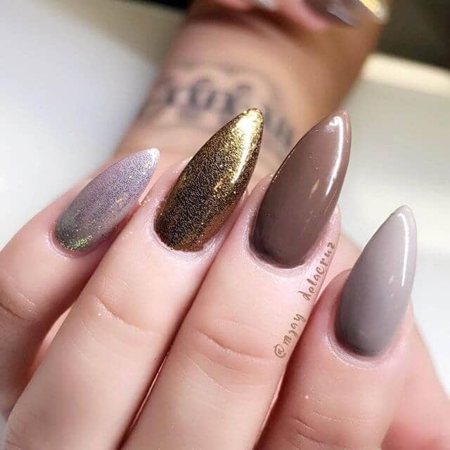 Mauve and Gold with Sparkles Cool Nude Nail Design