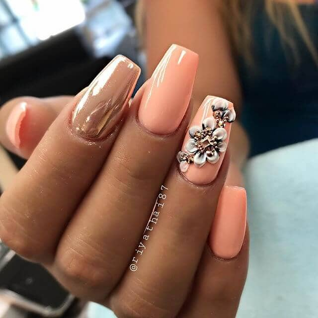 Vintage Nails with Retro Flowers for Cute Nails
