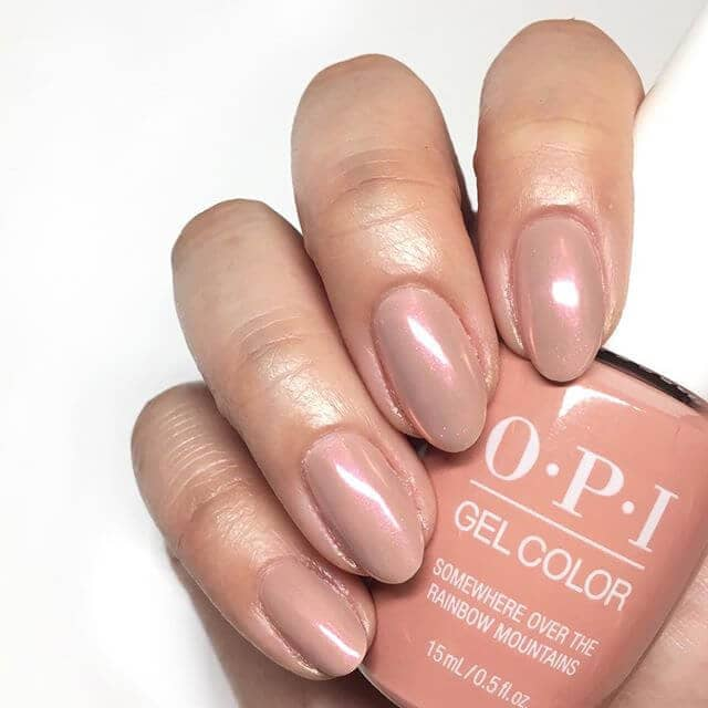 Gel Color Nails with Shades of Brown and Rose