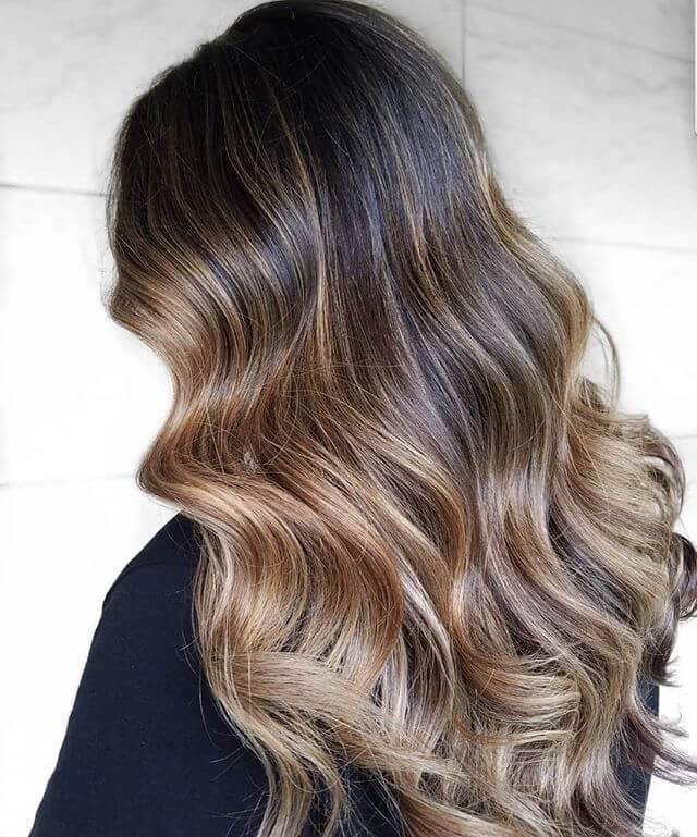 Cute Ombre Platinum Blonde Highlights in Dark Brown Hair