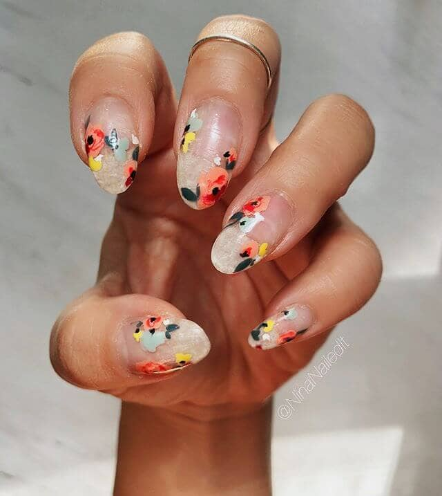 Crystal Lite with Flora and Fauna Cute Nail Designs