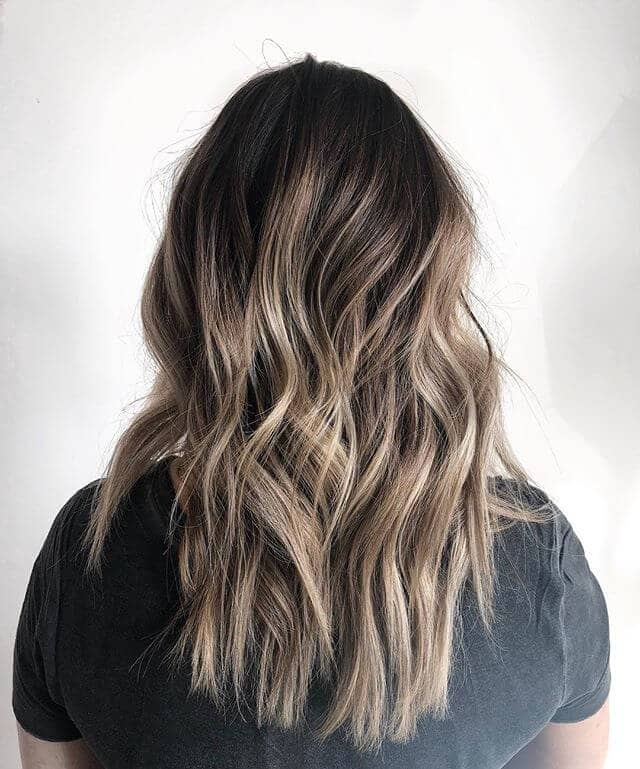 Awesome Champagne Blonde Ombre Highlights in Chocolate Brown Hair