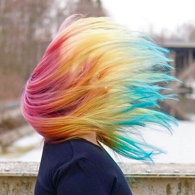 Windswept Rainbow Bayalage in Lovely Long Layers