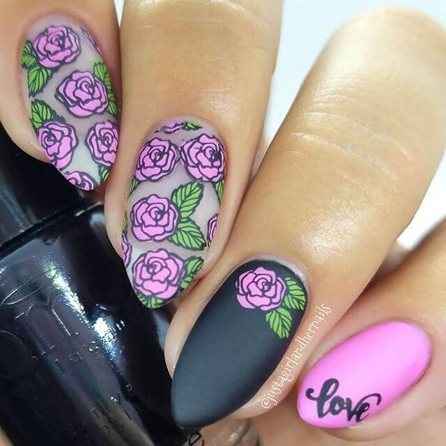 ove Me Some Roses Easy Nail Design