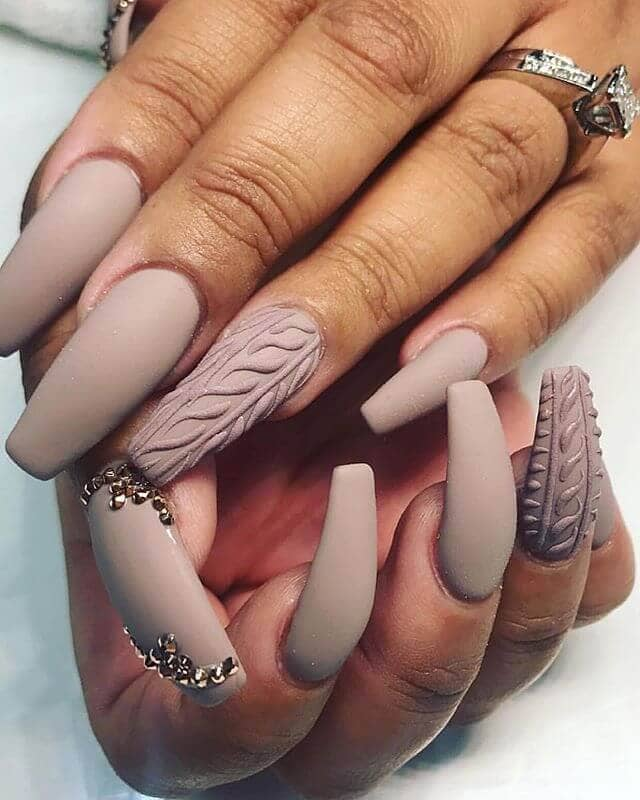 Nature-inspired Nude Nails with Gemstones