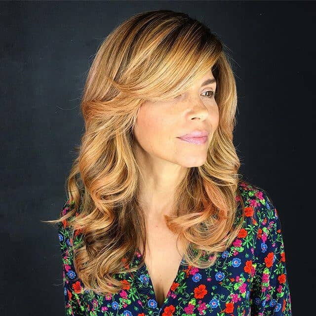 Honey Blonde Ombre Bangs With Curls