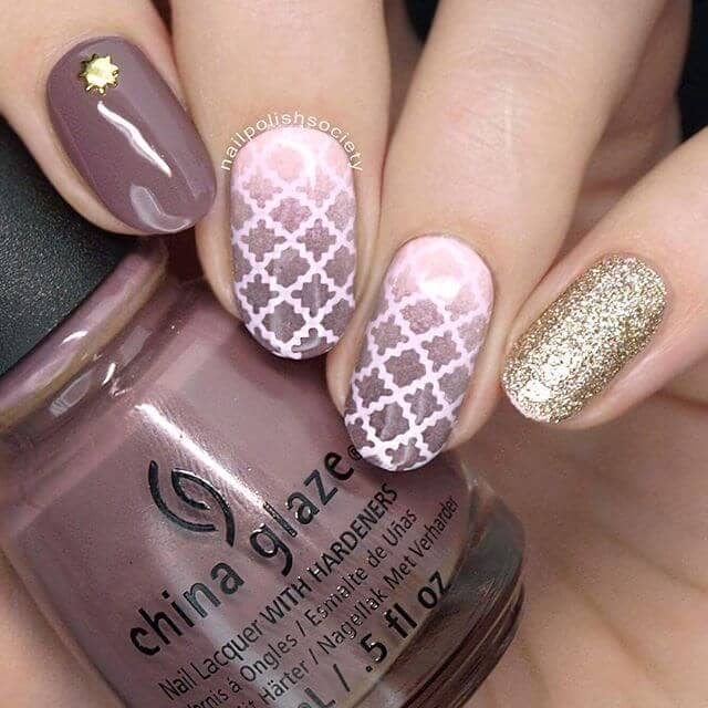 Rich Mauve with Gilding and Latticework Best Nail Design