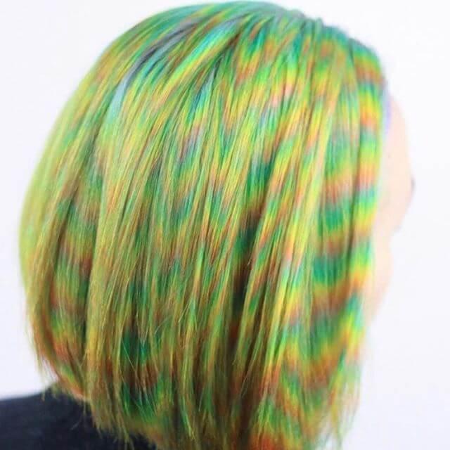 Short Bob Cut with Hypnotic Chevron Rainbow