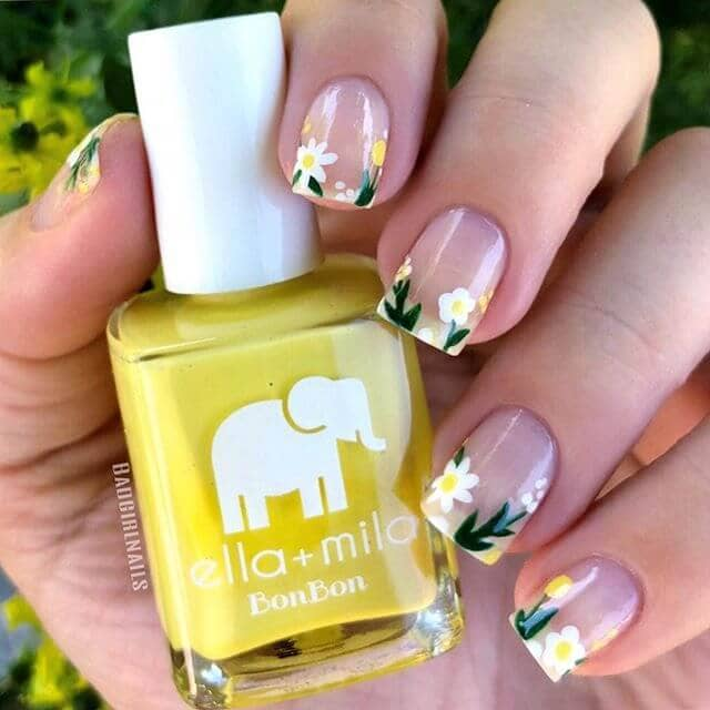 Little Daisies with Green Stems French Manicure Cute Nails