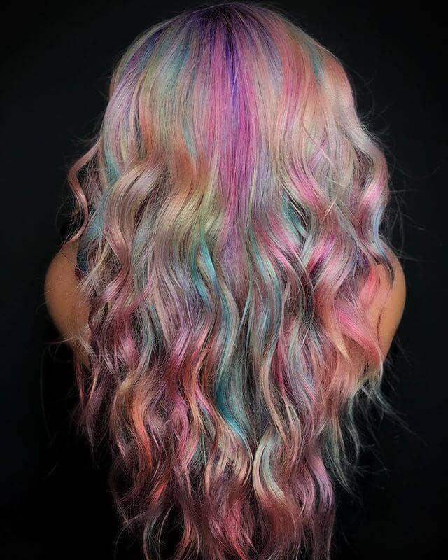 Romantic Mermaid Pastels in Long V-Cut Waves