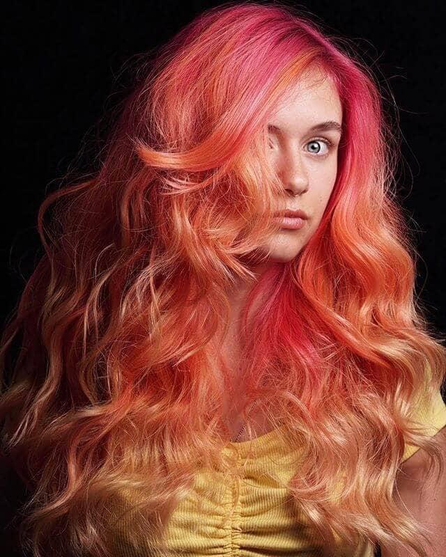 Vibrant Sunburst Ombre in Big Voluminous Curls