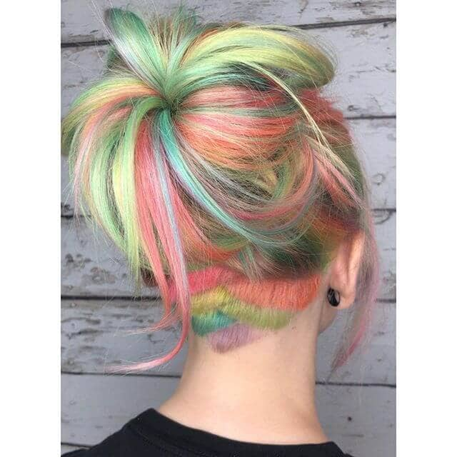 Pink and Green Pastels with Sporty Hideaway Undercut