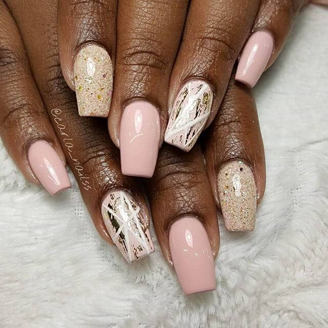 Natural Woodwork with Granite and Bark Patterns Cute Nails