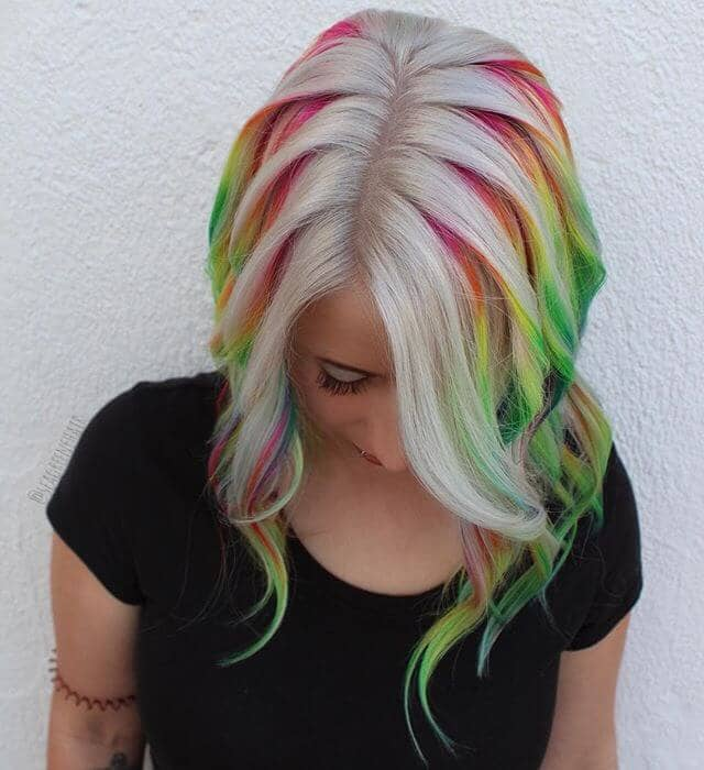 Chic Curly Rainbow Streaks with Chunky Platinum Layer