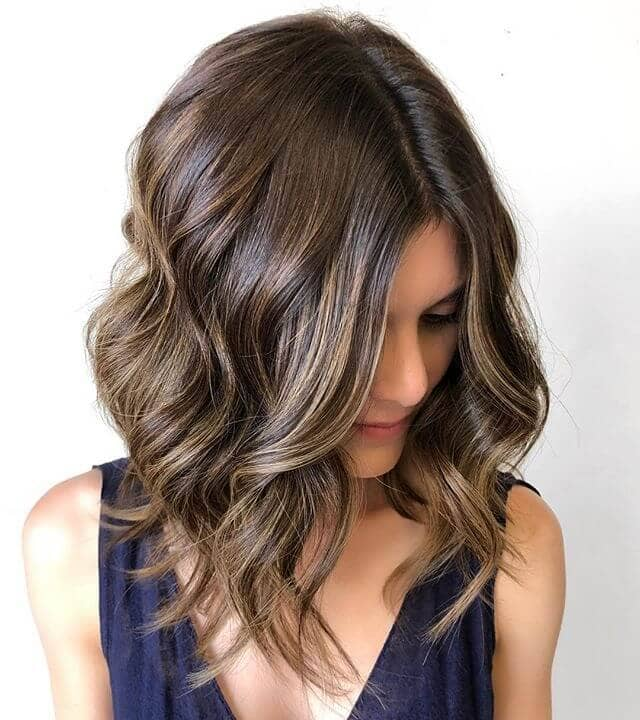 Simple Brunette Long Bob with Curls