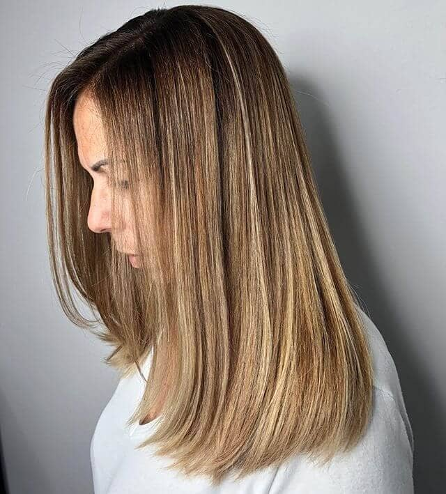 Sandy Blonde Highlights in Straight, Medium Brown Hair