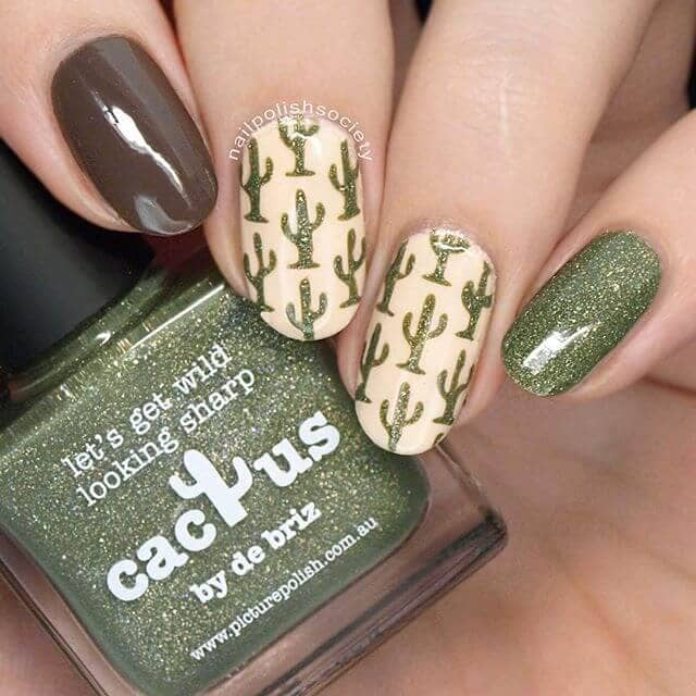Love Your Cactus Image with Green Glitter for Pretty Nails