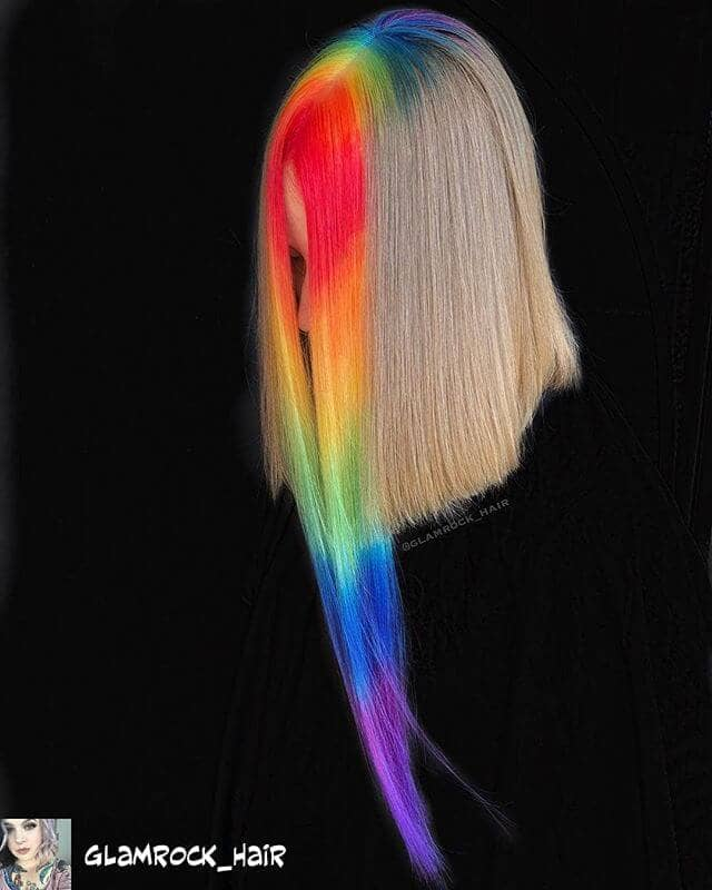 Blunt Blond with Rainbow Roots and Ultra-Long Bangs